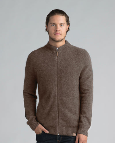 Mens Full Zip Jacket - Pebble-Merinomink-The WoolPress Arrowtown