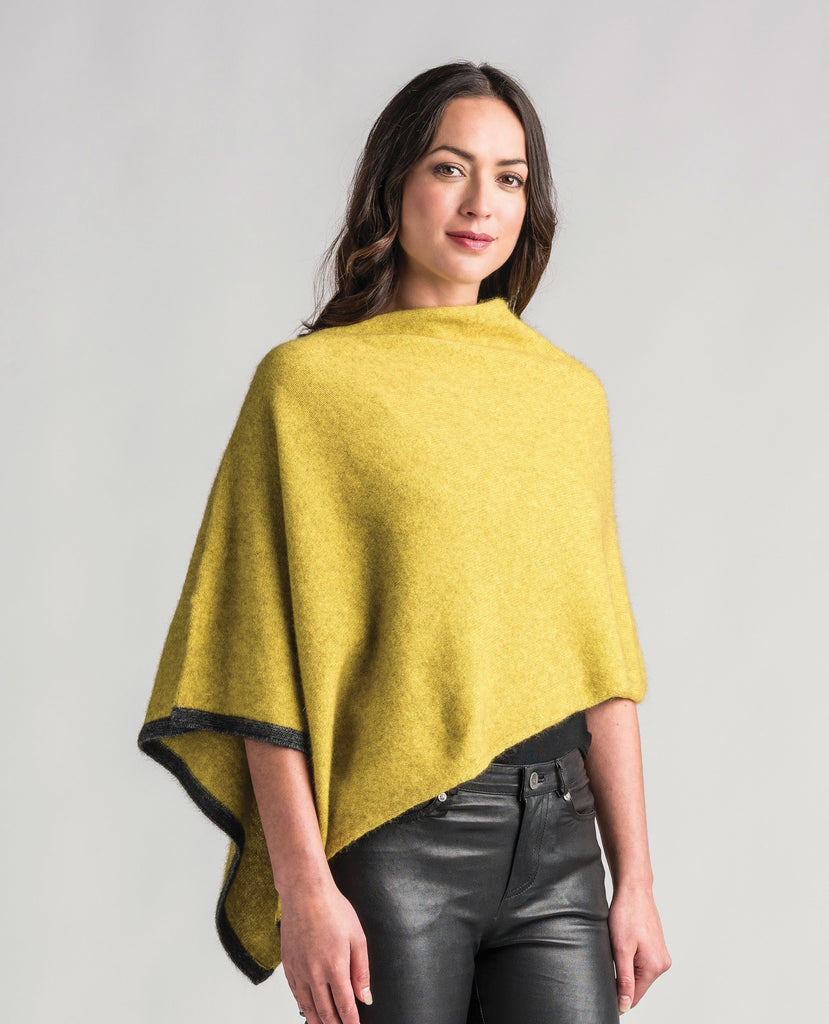 Merinomink Womens Two Tone Poncho Golden Pearl