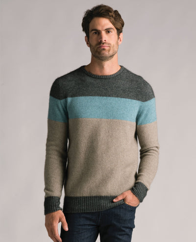Mens Texture Crew Sweater - Slate-Merinomink-The WoolPress Arrowtown