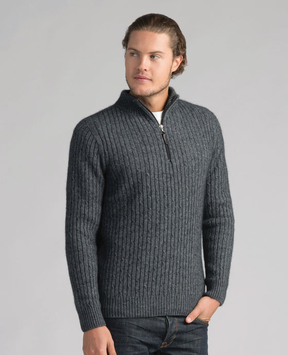Merinomink-Mens Cable Half Zip Sweater - Slate-shop online at www.thewoolpress.com