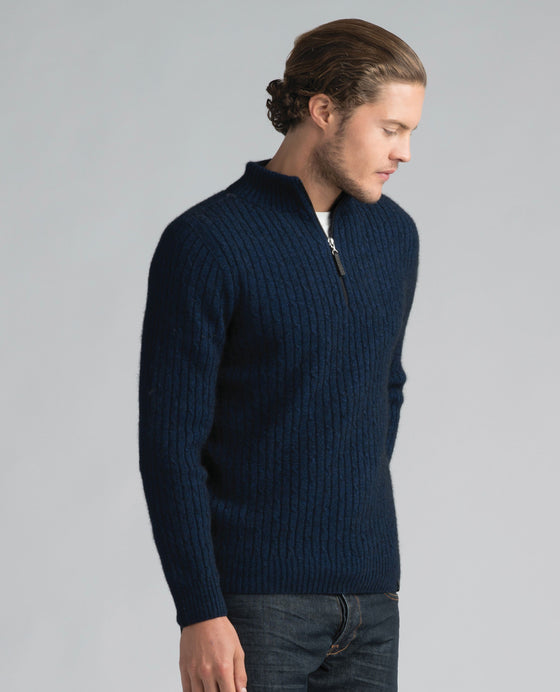 Merinomink-Mens Cable Half Zip Sweater-shop online at www.thewoolpress.com