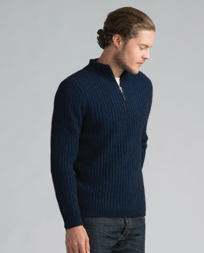 Mens Cable Half Zip Sweater-Merinomink-The WoolPress Arrowtown