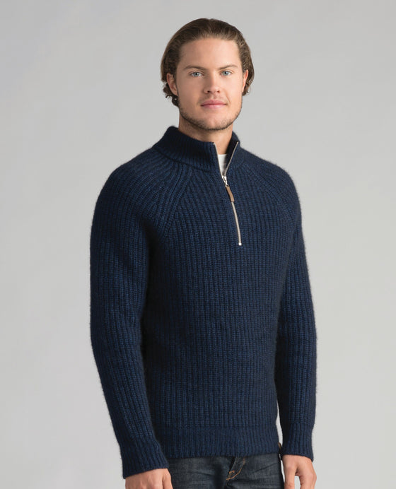 Mens Tekapo Half Zip-Merinomink-The WoolPress Arrowtown