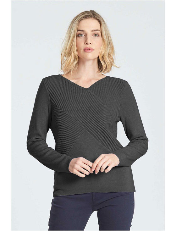 Womens LS V Rib Wrap Jumper