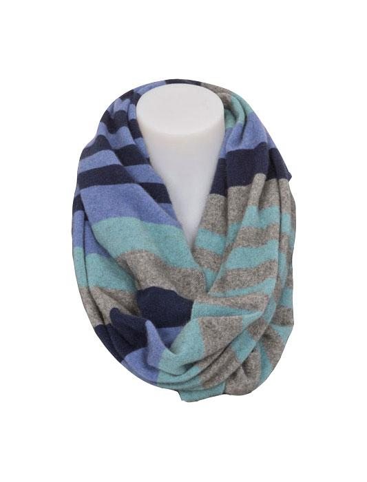 Womens Possum Merino 4 Tone Block Colour Loop Scarf