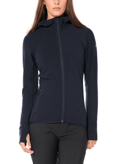 Womens Descender LS Zip Hood - Midnight Navy shop Icebreaker at TheWoolPress in Arrowtown, NZ