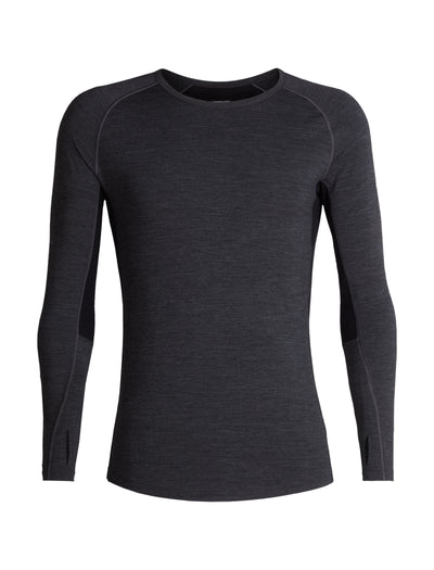 Mens 200 Zone LS Crewe - Jet Heather/Black | shop Icebreaker at TheWoolPress in Arrowtown, NZ
