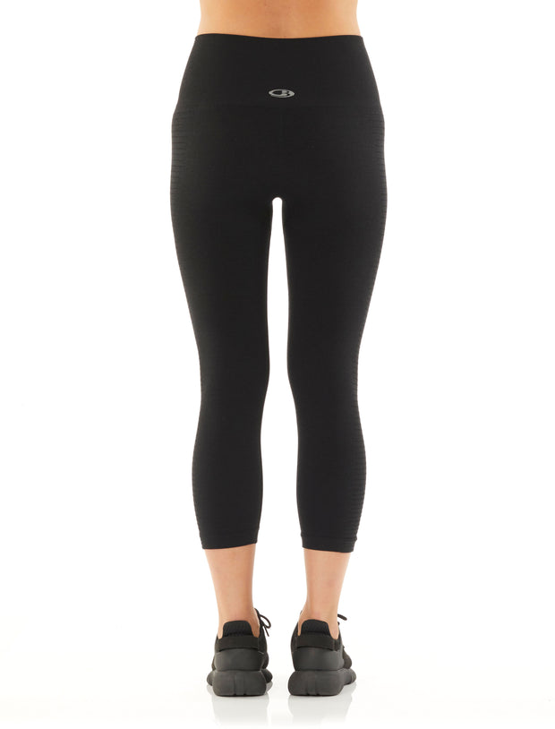 Womens Motion Seamless 3Q Tights - Black