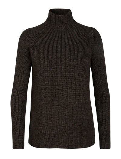 Womens Hillock Funnel Neck Sweater - Peat Heather