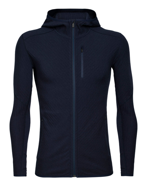 Mens Descender LS Zip Hood - Midnight Navy