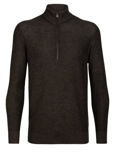 Mens Waypoint LS Half Zip Sweater - Peat Heather