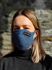 MKM Filtered Face Mask Blue Marl | Shop MKM | thewoolpress.com