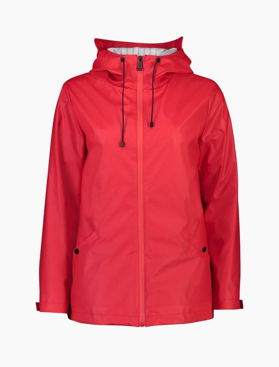 Mel Short Rain Jacket - Raspberry-Moke-The WoolPress Arrowtown