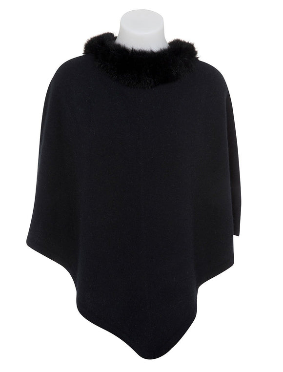 Native World-Womens Pure Possum Trim Poncho-shop online at www.thewoolpress.com