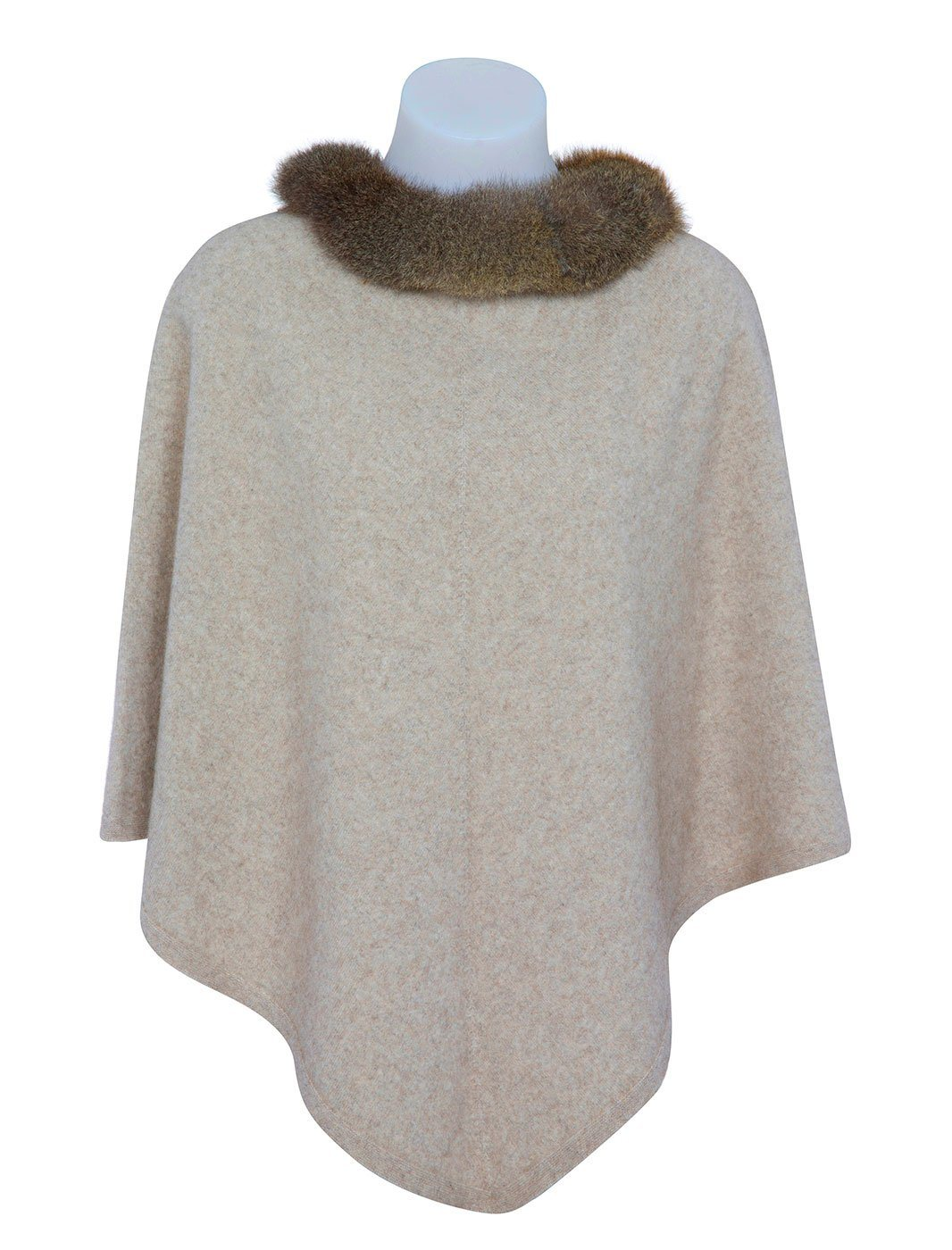 Womens Pure Possum Trim Poncho