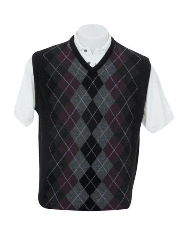 Mens Possum Merino V Neck Argyle Vest