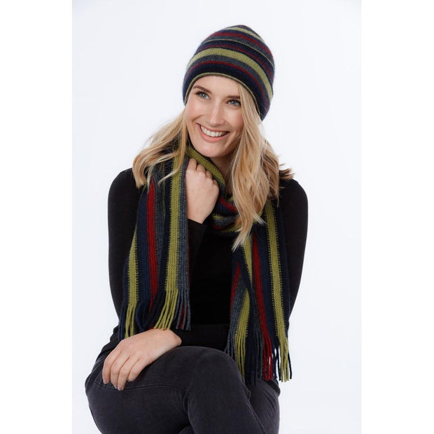 Possum Merino Striped Scarf - Native World | thewoolpress.com