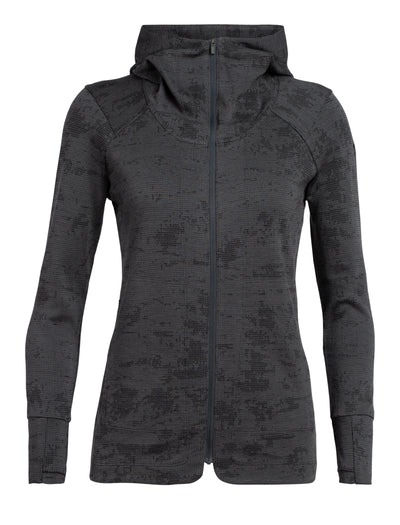 Womens Away II LS Zip Hood Monsoon | Icebreaker | thewoolpress.com