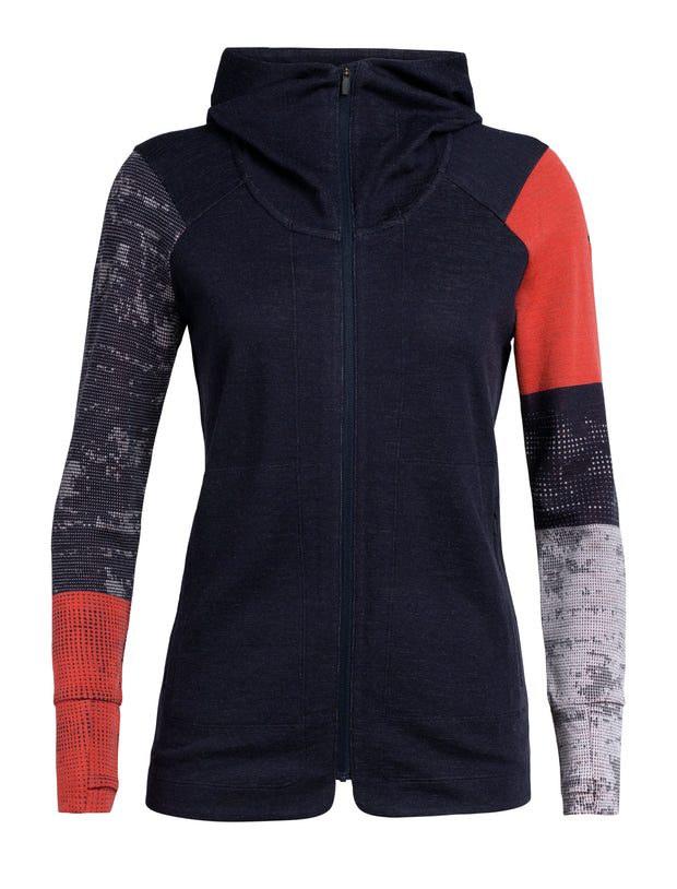 Womens Away II LS Zip Hood - Midnight Navy/Fire