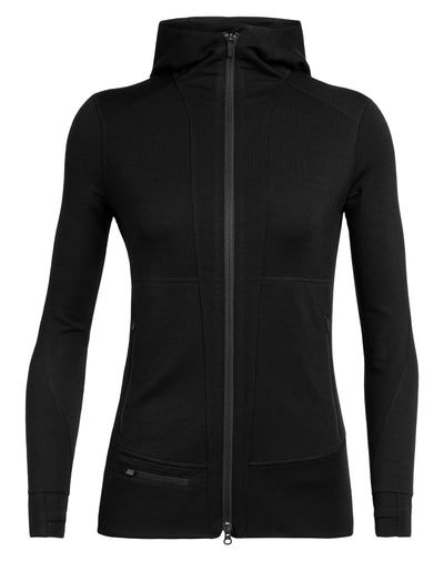 Womens Quantum II LS Zip Hood - Black