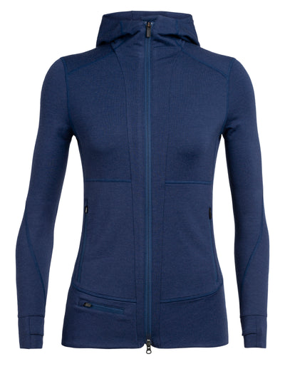 Womens Quantum II LS Zip Hood - Estate Blue