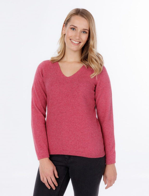 Womens V Neck Sweater-Native World-The WoolPress Arrowtown