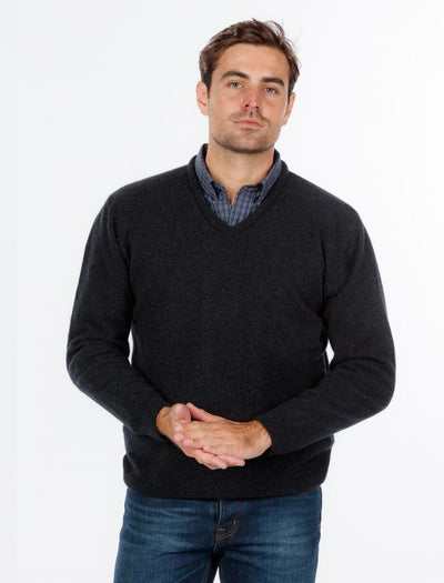 Mens V Neck Sweater-Native World-The WoolPress Arrowtown