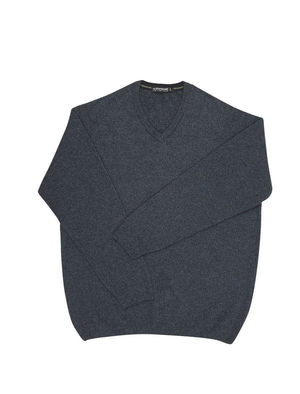 Mens Possum Merino Marl V Neck Sweater