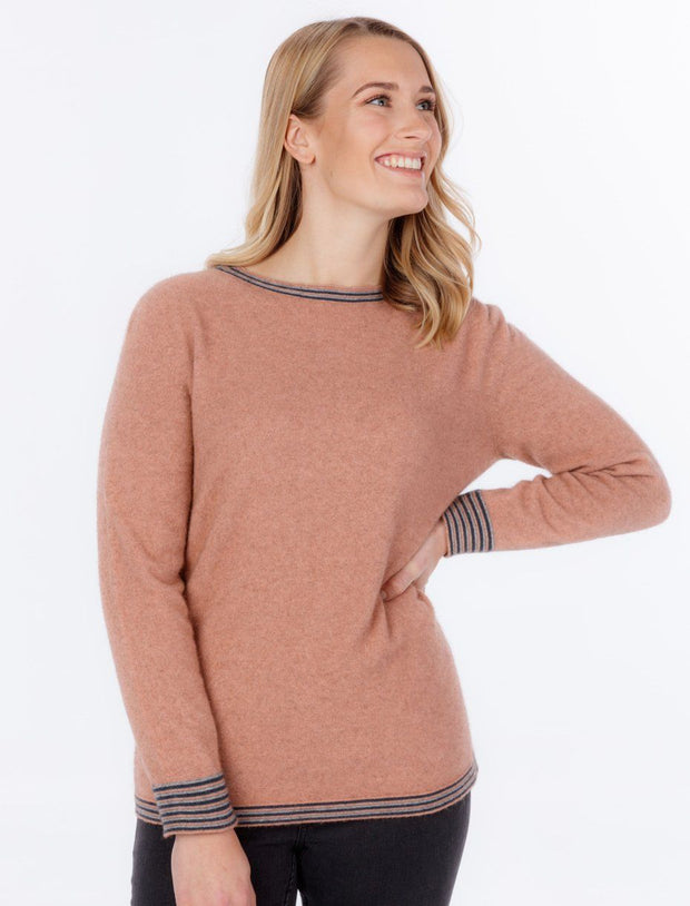 Womens Crew Neck Striped Sweater-Native World-The WoolPress Arrowtown