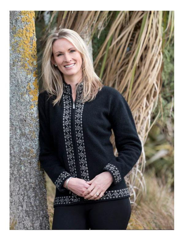 Womens Possum Merino Koru Zip Jacket