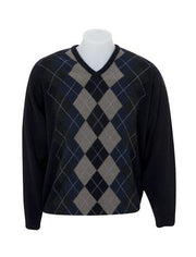 Mens V Neck Argyle Sweater-Native World-The WoolPress Arrowtown