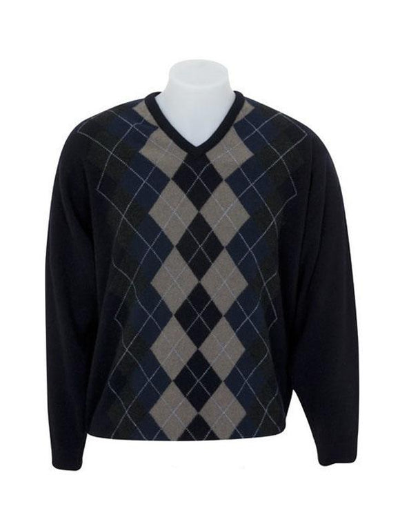 Mens Possum Merino V Neck Argyle Sweater
