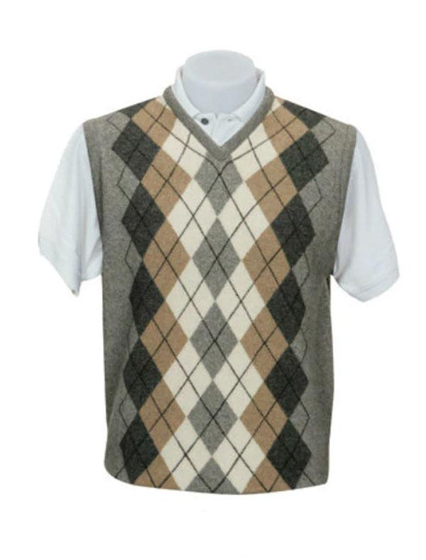 Mens V Neck Argyle Vest-Native World-The WoolPress Arrowtown