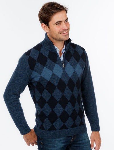 Mens Diamond Zip Neck Sweater-Native World-The WoolPress Arrowtown