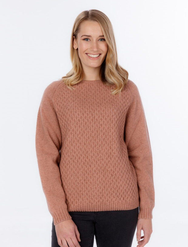 Womens Arran Knit Sweater-Native World-The WoolPress Arrowtown