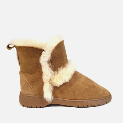 Womens Spilled Wool Boots - Chestnut