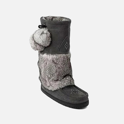 Womens Waterproof Snowy Owl Mukluk - Charcoal