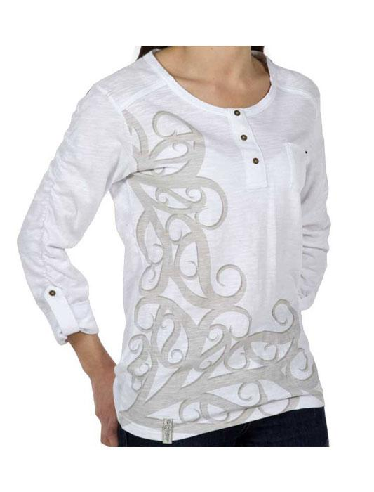 Kia Kaha-Womens Koru Long Sleeve Tee-shop online at www.thewoolpress.com