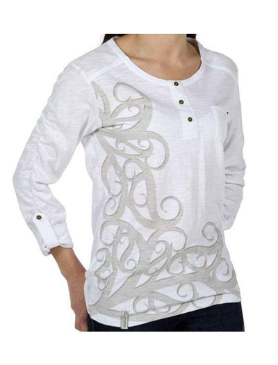 Womens Koru Long Sleeve Tee-Kia Kaha-The WoolPress Arrowtown