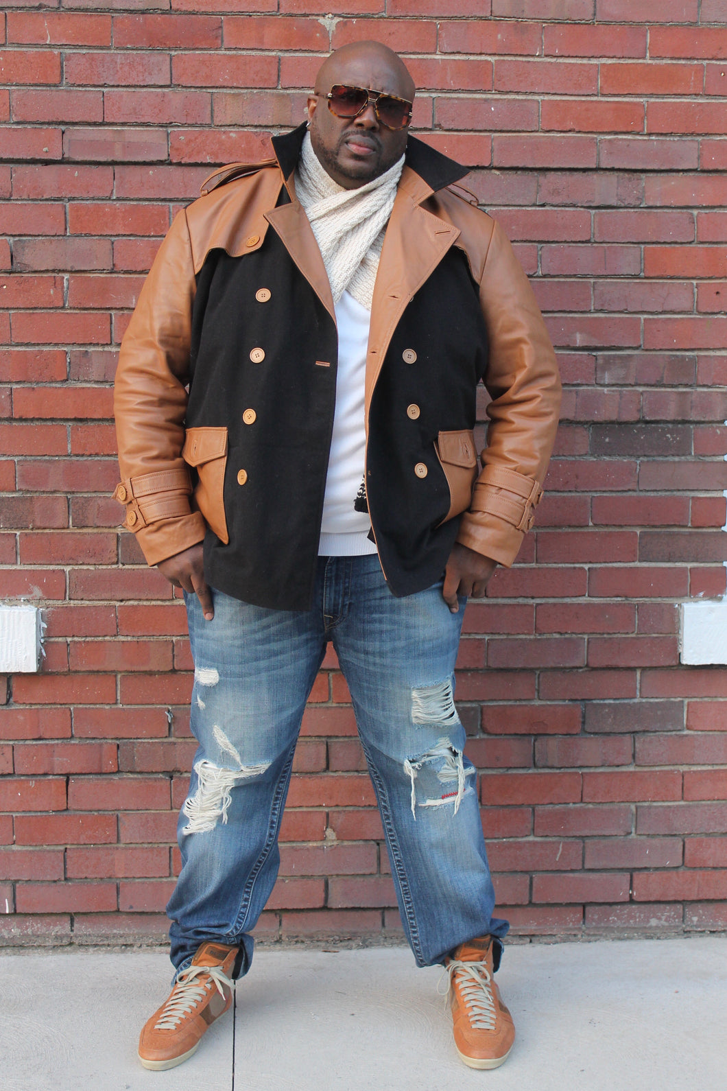Men's Wool & Leather Pea Coat