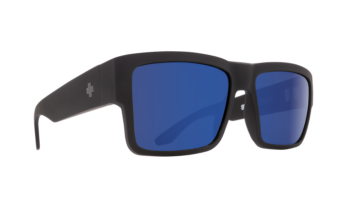 Spy Optic Cyrus Sunglasses -  Soft Black Frame - Happy Bronze with Dark Blue Spectra