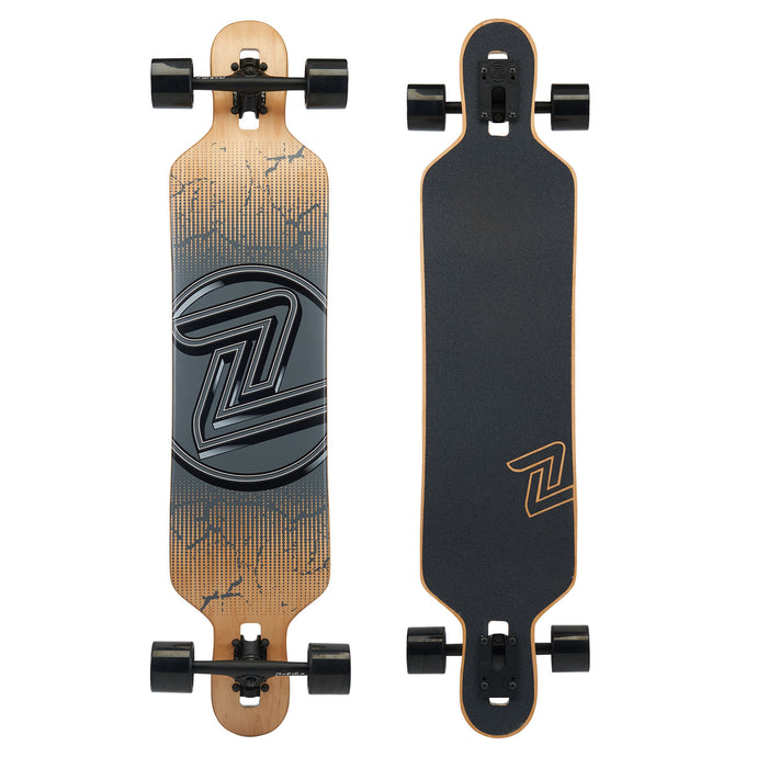 Z-Flex Drop Through - Cracked Black Skateboard