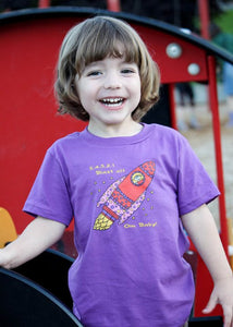 Om Baby, Child of the Universe (purple rocket) organic children's t-shirts