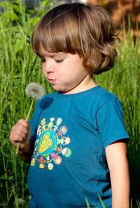Om Baby, Child of the Universe (Blue Community) organic children's t-shirts