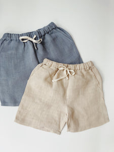 Boys linen shorts in natural