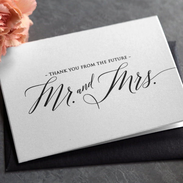 Bridal shower thank you cards, created custom with future mrs. names, bridal shower gift