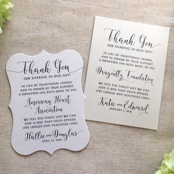 In lieu of favors cards, donation cards in memory of wedding favor cards