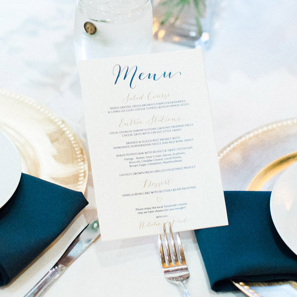 Custom Menus for Wedding, Rehearsal Dinner, Bridal Showers and more!