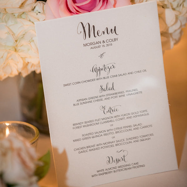 Custom Menus for Wedding, Rehearsal Dinner, Bridal Shower Luncheons & Events