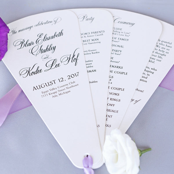 Custom Wedding Programs, Flat & Petal Fans Created Super Fast for Your Wedding Day
